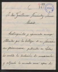 Carta de Juan Vidal Roda a Guillermo Fernández-Shaw, enviándole una copia de la música que ha compuesto sobre una poesía de éste.