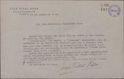 Carta de Juan Vidal Roda a Guillermo Fernández-Shaw, acusando recibo de su carta y sus versos que se propone musicalizar.