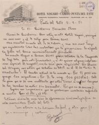 Carta de Francisco Balaguer a Guillermo Fernández-Shaw, dándole información de asuntos teatrales y económicos de países americanos.