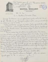 Carta de Francisco Balaguer a Guillermo Fernández-Shaw, dándole noticias de su gira por América y haciéndole indicaciones de una obra en la que colaboran.
