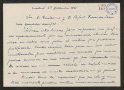 Carta de José Olmedo a Guillermo y Rafael Fernández-Shaw, agradeciéndoles una atención.