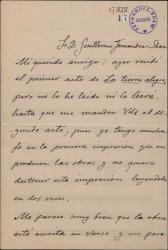 """Carta de José Serrano a Guillermo Fernández-Shaw, con comentarios sobre dos obras en las que colaboran, """"La tierra alegre"""" y """"El principe errante""""."""
