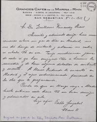 Carta de Pablo Sorozábal a Guillermo Fernández-Shaw, pidiéndole noticias de la comedia que le prepara.