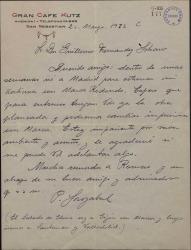 Carta de Pablo Sorozábal a Guillermo Fernández-Shaw, anunciándole su viaje a Madrid en el que espera intercambiar impresiones sobre la comedia que preparan.
