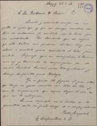 Carta de Pablo Sorozábal a Guillermo Fernández-Shaw, recordándole el libreto prometido, expresando su impaciencia por colaborar con éste en una obra.