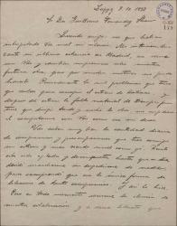 """Carta de Pablo Sorozábal a Guillermo Fernández-Shaw, justificando su silencio por el estreno de su obra """"Katiuska"""" e insistiendo en su interés por trabajar con él."""
