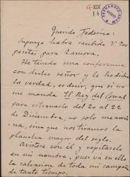 Carta de José Serrano a Federico Romero, sobre varios pormenores de una obra que van a estrenar.
