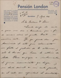 Carta de Pablo Sorozábal a Guillermo Fernández-Shaw, pidiéndole información sobre el ambiente de la obra en que está trabajando.