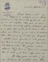 Carta de Pablo Sorozábal a Guillermo Fernández-Shaw, hablando de sus estrenos y anunciándole un próximo viaje a Madrid.