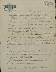 """Carta de José Serrano a Federico Romero, encargándole varias cosas sobre un festival que se va a celebrar y en el que se incluye """"La canción del soldado""""."""