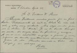 Carta de Pablo Sorozábal a Guillermo Fernández-Shaw, agradeciendo su felicitación por un éxito teatral.