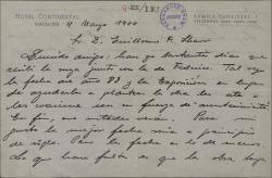 Carta de Pablo Sorozábal a Guillermo Fernández-Shaw, sobre la posible época en que deberían ambientar una obra.