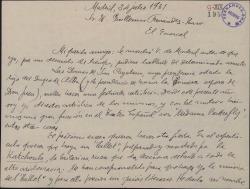 Carta de Victorino Echevarría a Guillermo Fernández-Shaw, pidiéndole un guión literario para un ballet que proyecta con fines benéficos.