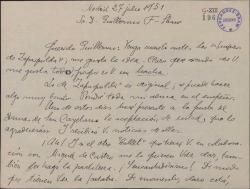 Carta de Victorino Echevarría a Guillermo Fernández-Shaw, aprobando la idea de éste para el ballet benéfico que prepara.