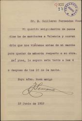 Carta de José Serrano a Guillermo Fernández-Shaw, citándole en su casa antes de salir de viaje.