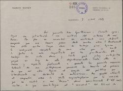 """Carta de Narcis Bonet a Guillermo Fernández-Shaw, hablando del éxito obtenido con su """"Missa"""" y de sus dificultades al empezar a trabajar en la obra """"Altisidora""""."""