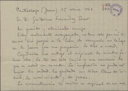Carta de Eduard Toldrá a Guillermo Fernández-Shaw, explicándole las causas por las que áun no ha leído detenidamente el libreto de una obra en la que van a colaborar.