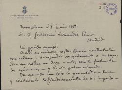 """Carta de Eduard Toldrá a Guillermo Fernández-Shaw, devolviéndole el original de la obra """"El pretendiente burlado"""" ante la imposibilidad de hacer la música."""