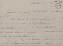 """Carta de Jesús Romo a Guillermo y Rafael Fernández-Shaw, sobre su trabajo en la obra """"Un día de primavera""""."""