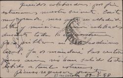 Tarjeta postal de Jesús Romo a Guillermo y Rafael Fernández-Shaw, dando noticias del estreno de su sainete en Barcelona.