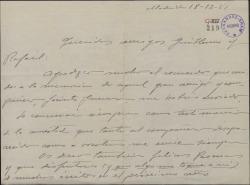 Carta de Jesús Romo a Guillermo y Rafael Fernández-Shaw, agradeciéndoles su recuerdo para Jacinto Guerrero y deseándoles felices Pascuas.