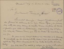 Carta de José Cubiles a Guillermo Fernández-Shaw, diciéndole que con mucho gusto firma y pone unas notas en el álbum de su hija María Pepa.