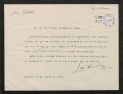 Carta de José Cubiles a Guillermo Fernández-Shaw, agradeciendo un pésame.