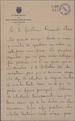 Carta de Julio Gómez García a Guillermo Fernández-Shaw, agradeciendo el envío de unos originales para la biblioteca del conservatorio y hablando de sus intentos teatrales.