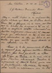 Carta de José María y Ramón González Bastida a Guillermo Fernández-Shaw, expresando sus deseos de colaborar con él y pidiéndole un libro de zarzuela para ponerle música.