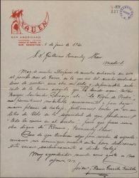 Carta de José María y Ramón González Bastida a Guillermo Fernández-Shaw, contándole su éxito y ofreciéndose para colaborar con él, pidiéndole un libro de zarzuela para ponerle música.