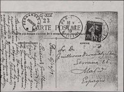 Tarjeta postal de Eduardo Granados a Guillermo Fernández-Shaw, expresando su alegría por lo bien que ha ido cierto asunto familiar.