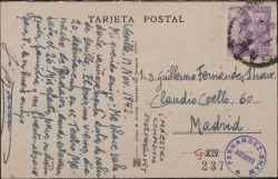 Tarjeta postal de José Masllovet a Guillermo Fernández-Shaw, saludándole y anunciándole su próximo debut.