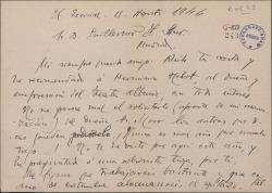 Carta de Francisco Alonso a Guillermo Fernández Shaw, diciéndole que ha recomendado a la persona por la que se interesaba éste.