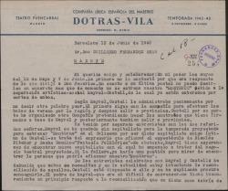 """Carta de Juan Dotras Vila a Guillermo Fernández-Shaw, comunicándole la suspensión del estreno de """"Montbruc se va a la guerra"""" por problemas con la compañía."""