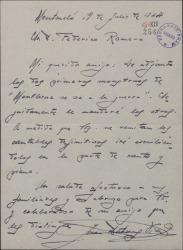 """Carta de Juan Dotras Vila a Federico Romero, adjuntando los dos primeros """"monstruos"""" de """"Montbruc se va a la guerra""""."""