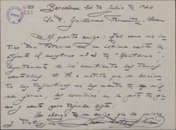 """Carta de Juan Dotras Vila a Guillermo Fernández-Shaw, enviándole el """"monstruo"""" número 3 de """"Montbruc se va a la guerra""""."""