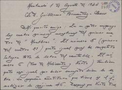 """Carta de Juan Dotras Vila a Guillermo Fernández-Shaw, con comentarios sobre los """"monstruos"""" del segundo cuadro de """"Montbruc se va a la guerra""""."""