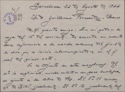 """Carta de Juan Dotras Vila a Guillermo Fernández-Shaw, con detalles sobre los avances en la obra """"Montbruc se va a la guerra"""" y contándole el interés prestado por Sagi-Barba y su hijo con respecto a la misma."""