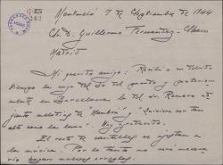 """Carta de Juan Dotras Vila a Guillermo Fernández-Shaw, ultimando detalles de la obra """"Montbruc se va a la guerra"""" y deseándole éxito en un próximo estreno en Barcelona."""