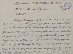 Carta de Juan Dotras Vila a Federico Romero, explicándole los motivos por los que se retrasa su viaje a Madrid.