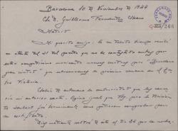 Carta de Juan Dotras Vila a Guillermo Fernández-Shaw, confirmando su llegada a Madrid en las fechas previstas.