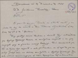"""Carta de Juan Dotras Vila a Guillermo Fernández-Shaw, con pormenores de la obra """"Montbruc se va a la guerra"""" y deseándole feliz año."""