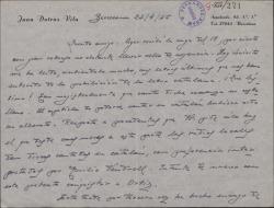 """Carta de Juan Dotras Vila a Guillermo Fernández-Shaw, lamentando que no les autoricen la versión catalana de una romanza de """"Montbruc se va a la guerra"""" y anunciando la fecha de estreno."""