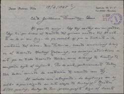 """Carta de Juan Dotras Vila a Guillermo Fernández-Shaw, con detalles del montaje y ensayos de """"Montbruc se va a la guerra""""."""