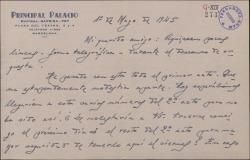"""Carta de Juan Dotras Vila a Guillermo Fernández-Shaw, con detalles del montaje y ensayos de """"Montbruc se va a la guerra"""" y adjuntando la publicidad que se colocará en tranvías, escaparates y otros lugares públicos."""