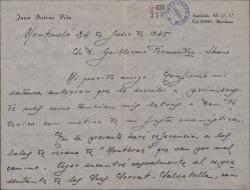"""Carta de Juan Dotras Vila a Guillermo Fernández-Shaw, contándole problemas económicos y empresariales relacionados con la gira de verano de """"Montbruc se va a la guerra""""."""
