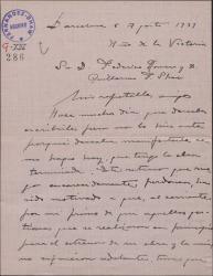 Carta de Miguel Vila Piqué a Guillermo Fernández Shaw y Federico Romero, pidiéndoles perdón por el retraso en su trabajo en la obra en la que colaboran.