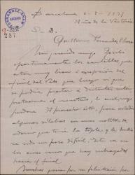 Carta de Miguel Vila Piqué a Guillermo Fernández Shaw, con detalles sobre el trabajo en la obra en que colaboran.