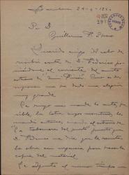 """Carta de Miguel Vila Piqué a Guillermo Fernández Shaw, alegrándose del posible próximo estreno de """"Mimi Pinsón"""" y enviándo material de la obra."""