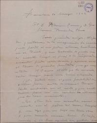 """Carta de Miguel Vila Piqué a Guillermo Fernández Shaw y Federico Romero, interesándose por las posibilidades de un estreno de """"Mimi Pinsón"""" antes del verano."""